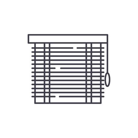Koncepcja ikona linii żaluzjowej. Żaluzje wektor ilustracja liniowa, znak, symbol