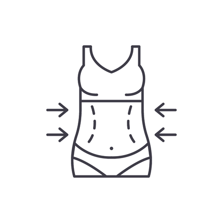 Lose weight line icon concept. Lose weight vector linear illustration, sign, symbol  イラスト・ベクター素材