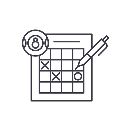 Lottery line icon concept. Lottery vector linear illustration, sign, symbol 일러스트