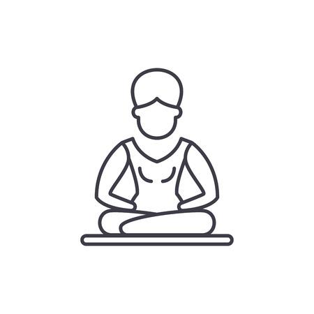 Lotus pose meditation line icon concept. Lotus pose meditation vector linear illustration, sign, symbol Illustration