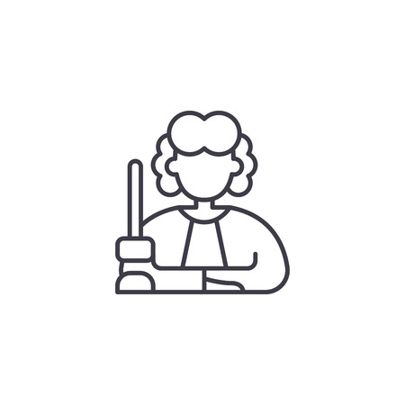 Judge line icon concept. Judge vector linear illustration, sign, symbol
