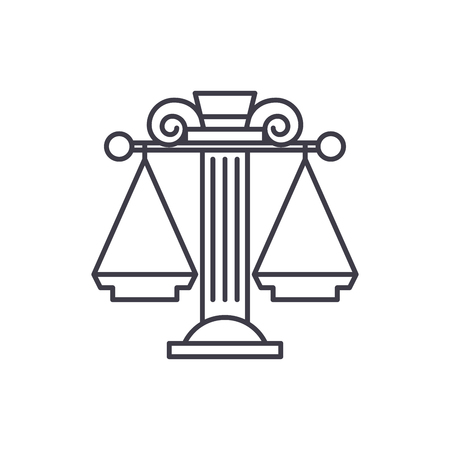 Judicial system line icon concept. Judicial system vector linear illustration, sign, symbol