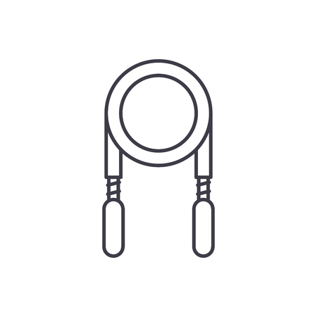 Jump rope line icon concept. Jump rope vector linear illustration, sign, symbol