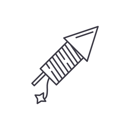 Launching fireworks line icon concept. Launching fireworks vector linear illustration, sign, symbol Illustration