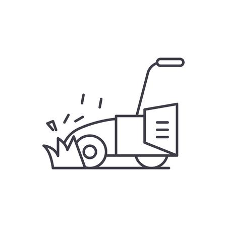 Rasenmäher Symbol Leitung Konzept. Rasenmäher Vektor lineare Illustration, Zeichen, Symbol