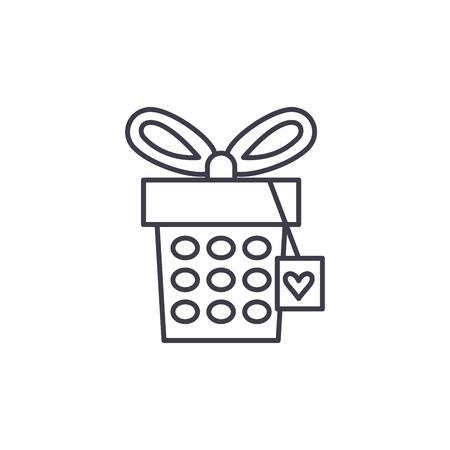 Jewelery box line icon concept. Jewelery box vector linear illustration, sign, symbol Illustration