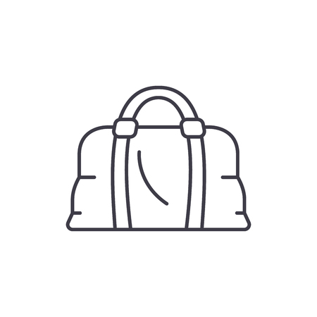 Leather bag line icon concept. Leather bag vector linear illustration, sign, symbol 免版税图像 - 127493857