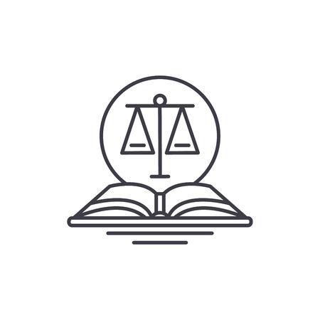 Gesetzlicher Code Symbol Leitung Konzept. Gesetzliche Code-Vektor-lineare Illustration, Zeichen, Symbol