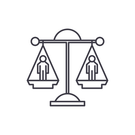 Legal decision line icon concept. Legal decision vector linear illustration, sign, symbol 向量圖像