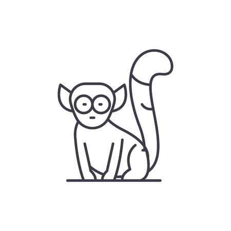 Lemur line icon concept. Lemur vector linear illustration, sign, symbol
