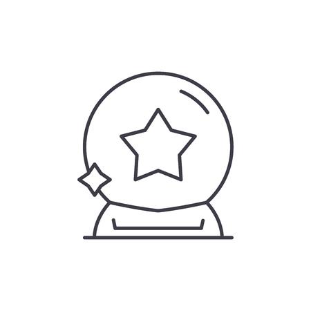 Magic ball line icon concept. Magic ball vector linear illustration, sign, symbol Illustration
