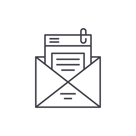 Mailing list line icon concept. Mailing list vector linear illustration, sign, symbol Illusztráció