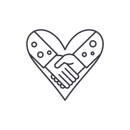 Love fidelity line icon concept. Love fidelity vector linear illustration, sign, symbol 일러스트