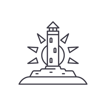 Lighthouse line icon concept. Lighthouse vector linear illustration, symbol, sign