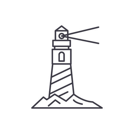 Lighthouse on the shore line icon concept. Lighthouse on the shore vector linear illustration, sign, symbol