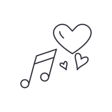 Love music line icon concept. Love music vector linear illustration, sign, symbol Illustration
