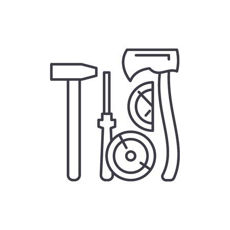 Lumberjack tools line icon concept. Lumberjack tools vector linear illustration, symbol, sign