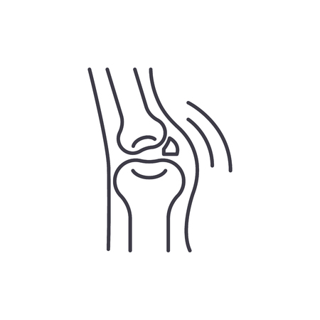 Joint disease line icon concept. Joint disease vector linear illustration, sign, symbol Archivio Fotografico - 127493879