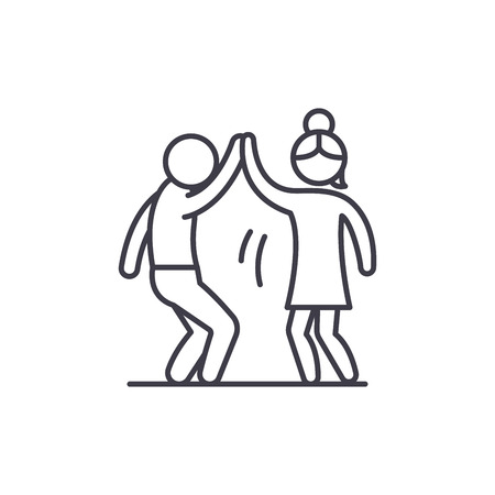 Man and woman are dancing line icon concept. Man and woman are dancing vector linear illustration, sign, symbol
