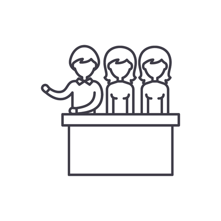 Jury trial line icon concept. Jury trial vector linear illustration, sign, symbol