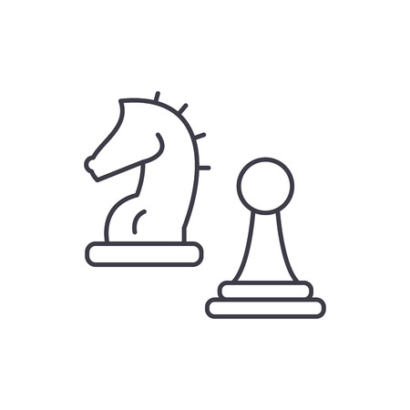Knight and pawn line icon concept. Knight and pawn vector linear illustration, sign, symbol