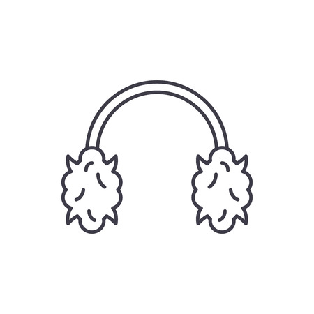 Knitted headphones line icon concept. Knitted headphones vector linear illustration, sign, symbol Иллюстрация
