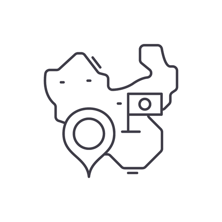 Map of china line icon concept. Map of china vector linear illustration, sign, symbol