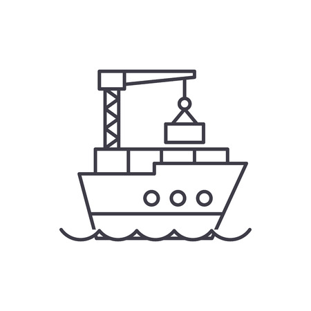 Maritime logistics line icon concept. Maritime logistics vector linear illustration, sign, symbol