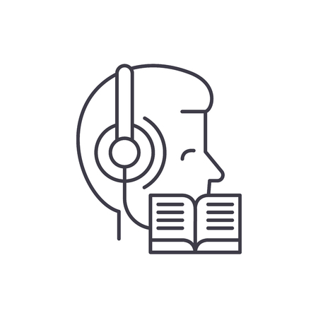 Listening to music and reading line icon concept. Listening to music and reading vector linear illustration, sign, symbol