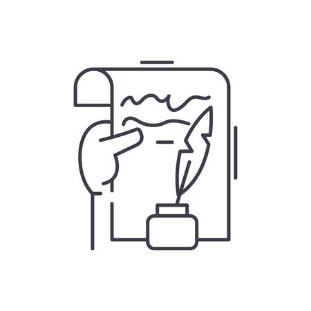 Literary creativity line icon concept. Literary creativity vector linear illustration, sign, symbol