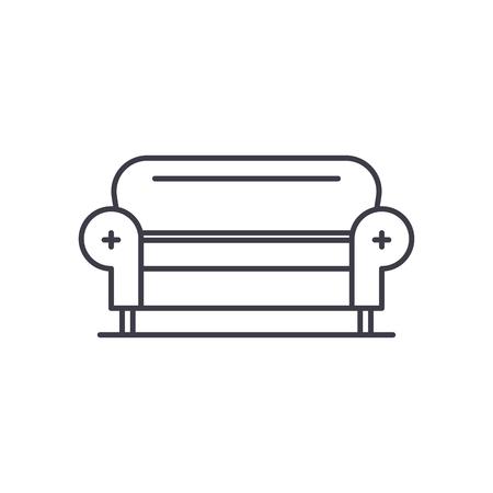 Living room sofa line icon concept. Living room sofa vector linear illustration, sign, symbol