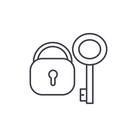 Lock with key line icon concept. Lock with key vector linear illustration, sign, symbol