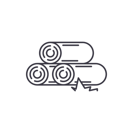 Logs line icon concept. Logs vector linear illustration, sign, symbol