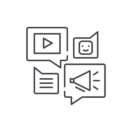 Media online library line icon concept. Media online library vector linear illustration, sign, symbol Stock Illustratie