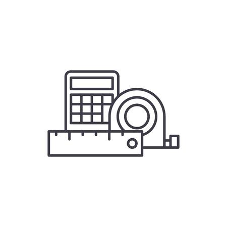 Measurement and calculations line icon concept. Measurement and calculations vector linear illustration, sign, symbol Stock Illustratie