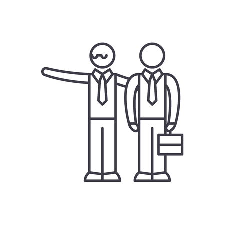 Mentoring line icon concept. Mentoring vector linear illustration, sign, symbol
