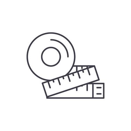 Measurement of the figure line icon concept. Measurement of the figure vector linear illustration, sign, symbol