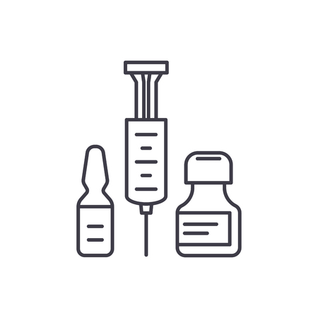 Medical shots line icon concept. Medical shots vector linear illustration, sign, symbol