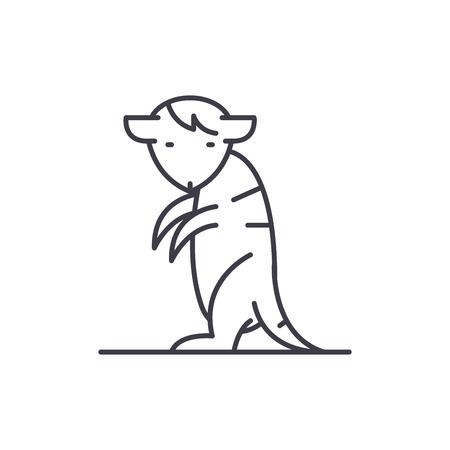 Meerkat line icon concept. Meerkat vector linear illustration, sign, symbol