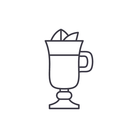 Mulled wine line icon concept. Mulled wine vector linear illustration, sign, symbol Иллюстрация
