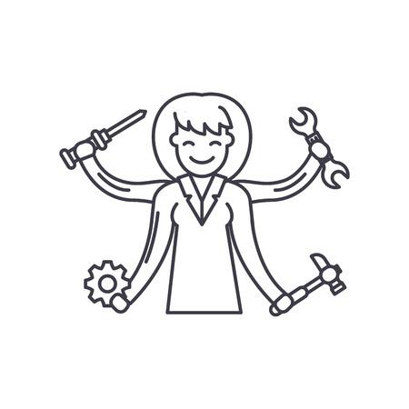 Multitasking line icon concept. Multitasking vector linear illustration, sign, symbol Vectores