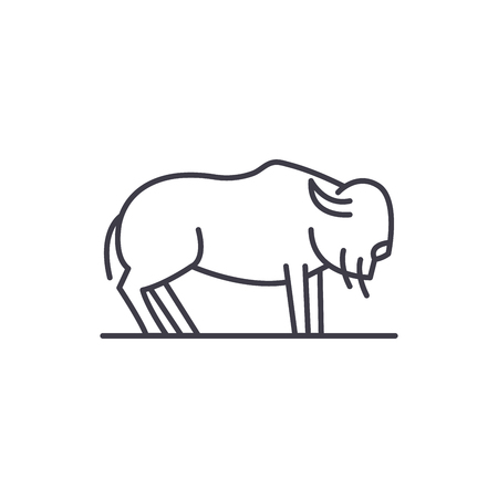 Musk ox line icon concept. Musk ox vector linear illustration, sign, symbol Reklamní fotografie - 127493965