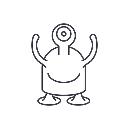 One eyed monster line icon concept. One eyed monster vector linear illustration, sign, symbol Illusztráció