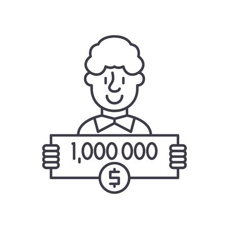 One million dollars line icon concept. One million dollars vector linear illustration, sign, symbol Stock Illustratie