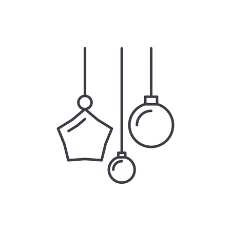New year decoration line icon concept. New year decoration vector linear illustration, sign, symbol