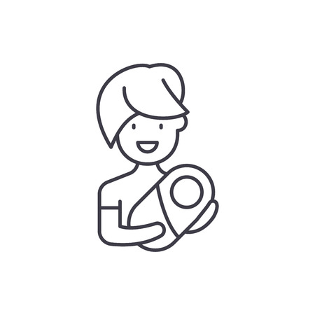 Mom with baby line icon concept. Mom with baby vector linear illustration, sign, symbol Illusztráció