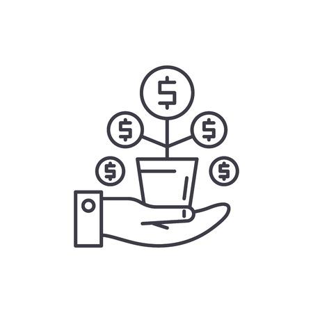 Money tree line icon concept. Money tree vector linear illustration, sign, symbol
