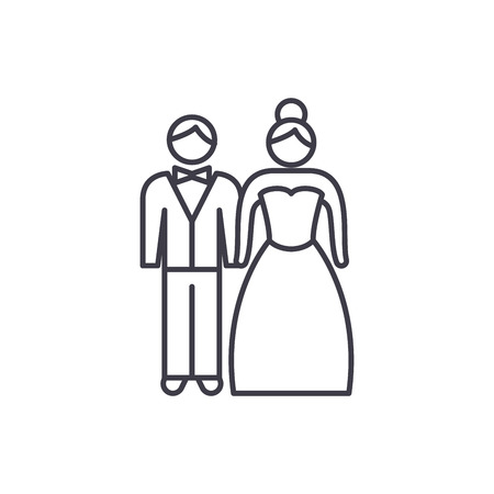 Newlyweds line icon concept. Newlyweds vector linear illustration, sign, symbol