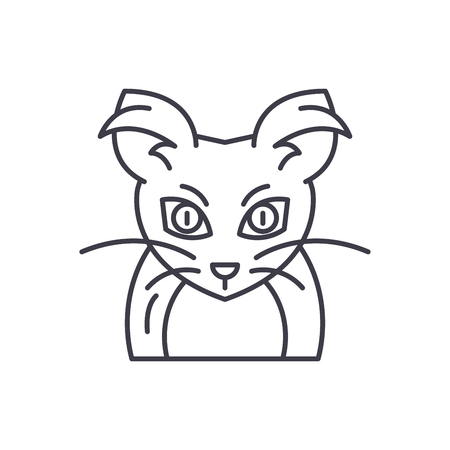 Monster mouse line icon concept. Monster mouse vector linear illustration, sign, symbol