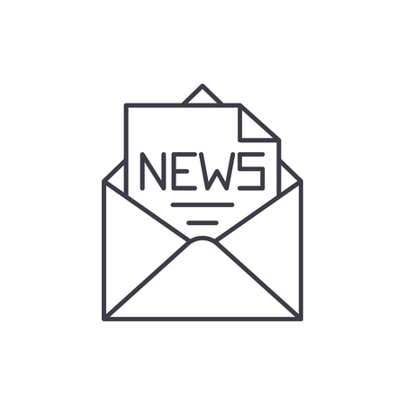 News in an envelope line icon concept. News in an envelope vector linear illustration, sign, symbol Illustration